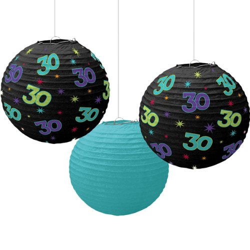 Amscan 30 Birthday Celebration Party Paper Lanterns, 9.5:, Teal/Black/Multicolor