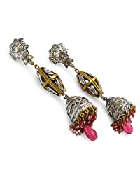 50.20 Grams White Cubic Zirconia & Pink Glass Gold Plated Brass Victorian Earrings