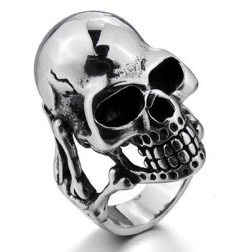 Men'S Large Heavy Stainless Steel Rings Silver Black Skull Bone Gothic Biker Size11