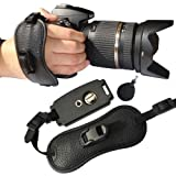 First2savvv OSH0401 Professional Wrist Grip black genuine leather hand Strap for FUJIFILM FinePix S4200 with UV lens filter protection bag case