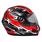 Motorcycle Full Face Helmet DOT - Spikes Razor Wire Red (Large)