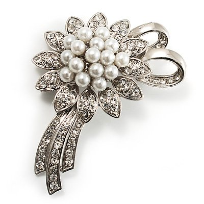 Delicate Faux Pearl Bridal Floral Brooch (Silver Tone)