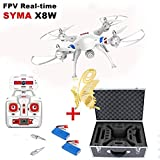 Ilov Syma X8W 2.4G 6-Axis 2mp Hd Wifi Camera Uav Rtf Ufo Headless Mode RC Drone Quadcopter with a Butterfly Bookmarker (X8W, 1 set Motor and Pack 2 Battery with Box)
