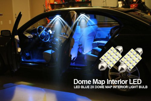 Abco Tech Led Blue 2X Dome Map Interior Light Bulb 9 Smd Circle Panel Xenon Hid Lamp - Fits All Vehicles (2)