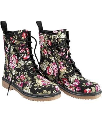 Joe Browns Chaussures Femme à Talons Plats 'Bottines à Fleurs' Noir