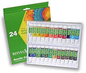 Reeves Non-Toxic Acrylic Paint Set, 0.34 oz Tube, Assorted Color, Set of 24