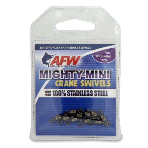 American Fishing Wire  Mighty Mini Crane Swivels (100-Percent Stainless Steel), Black Color, Size 10, 133 Pound Test, 10-Pieces