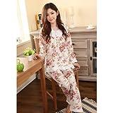 花柄 フリル の かわいい パジャマ 薄手 長袖 上下 セット (M)