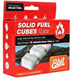 Esbit 1300 Degree Smokeless Solid Fuel Cubes for Backpacking, Camping and Hobby - 12 Pieces Each 14g