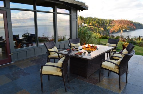 Outdoor Innovations South Beach 7-Piece All Weather Wicker Fire Dining Set photo