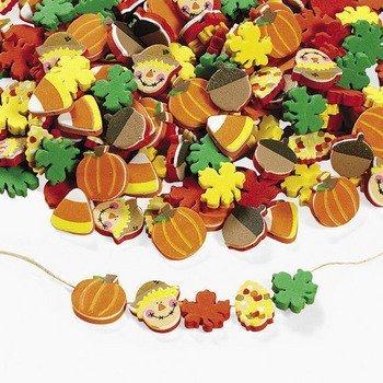 500-Fabulous-Foam-Thanksgiving-Harvest-Mix-Bead-Assortment-Turkey-Fall-Leaves-Pumpkin-Art-Craft-Supplies-Kids-Beading-Supplies