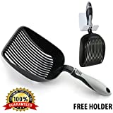 "Sifter with Deep Shovel - Designed by Cat Owners - *NEW* EZ Clean Teflon Coated. Solid Aluminum ""Perfect Scooper"" with Free Holder. Solid Core Handle. Custom Design. iPrimio ® Patent Pending."