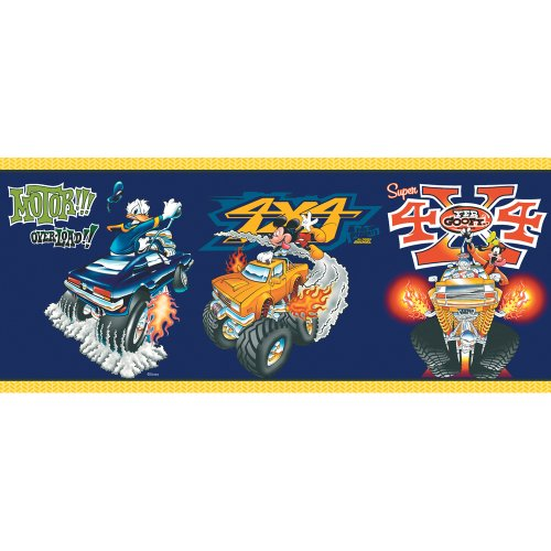 Imperial Disney Home DF059201B Mickey Monster Truck Border, Navy Blue, 10.25-Inch Wide