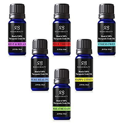Essential Oil Blends for Aromatherapy - Best 6 blend set 100% Pure Therapeutic Grade Four Thieves, Stress Free, Rest & Relax, Breathe Easy, Pure Healing, Happy Citrus, Gift Set - 6/10 ml