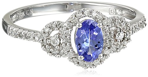 White-Gold Diamond and Tanzanite Ring (0.16cttw, G-H Color, I2-I3 Clarity), Size 8