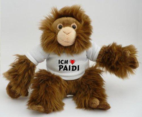 Plüsch Affe (Orangutan) mit T-shirt mit Aufschrift Ich liebe Paidi (Vorname/Zuname/Spitzname)
