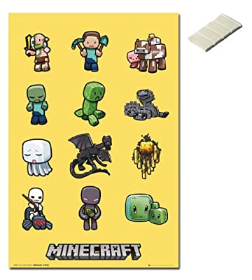 Bundle - 2 Items - Minecraft Characters Poster - 91.5 x 61cms (36 x 24 Inches) and Small Block Of White Tack