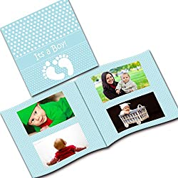 Clixicle Customized Baby Boy Flip Photo Book with your own images, 2 photos per page, 32 pages, 6in x 6in