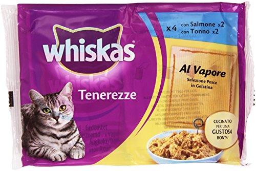 Whiskas – Tenerezze, Alimento Per Gatto Al Vapore, Selezione Pesce In Gelatina – 340 G  4 Buste
