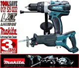 Makita BHP458Z 18V Cordless LXT Li-Ion Compact 2 Speed Combi Drill Plus Makita BJR181Z 18V LXT Li-Ion Reciprocating Saw (Body Only)