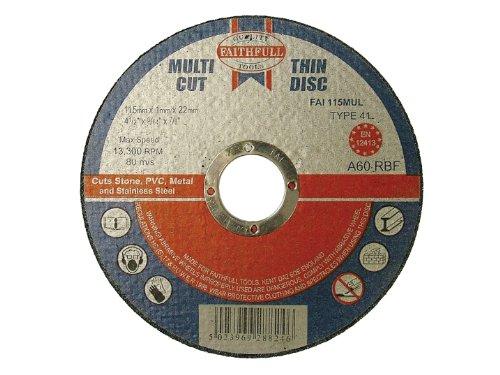 115 X 1 X 22mm Multi-cut Thin Cut Off Wheel (pack Of 10) By Faithfull