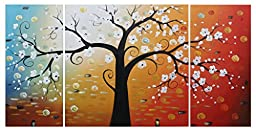 Ode-Rin Hand Painted Oil Painting White Flowers Tree 3 Panels Wood Inside Framed Hanging Wall Decoration