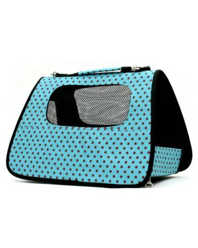 Luxury Pet Carrier Turquoise Blue with Brown Polka Dots