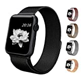 top4cus Apple Watch Band 38mm Double Plating Milanese Fully Magnetic Closure Clasp Mesh Loop Stainless Steel iWatch Band Replacement Bracelet Strap for Apple Watch 38mm Model- Black