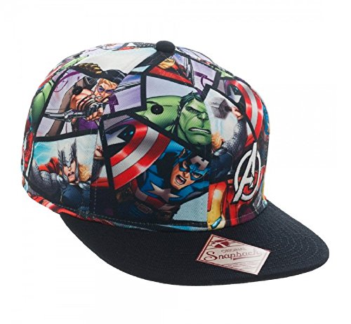 The Avengers Comic Book Collage Sublimated Snapback