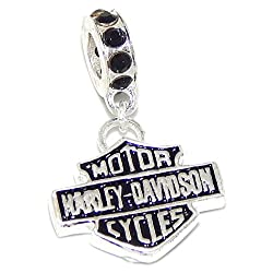 925 Solid Sterling Silver Dangling Harley Davidson Logo with Black Crystals Charm Bead