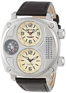 Sector Men's Quartz Watch with Beige Dial Analogue Display and Grey Leather Strap R3251207006