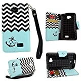 Mstechcorp - For LG Tribute (LS660) / Transpyre / Optimus F60 Flip Wallet Pouch Case (Carry All Series) - Includes + [Car Charger Data Cable] + [Touch Screen Stylus] + [Wall Plug] + [2 Data Cables] + [Hands Free Earphone] (ANCHOR TEAL)