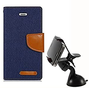 Aart Fancy Wallet Dairy Jeans Flip Case Cover for MotorolaMotoE (Black) + Mobile Holder Mount Bracket Holder Stand 360 Degree Rotating (WHITE) by Aart Store