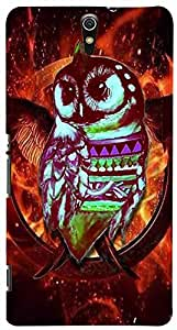 PrintVisa Birds Abstract Owl Case Cover for Sony Xperia C5 Ultra