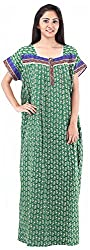 Milan Collection Women's Printed Dressing Gowns & Kimonos (MC-149_36, Green, Size - 36)
