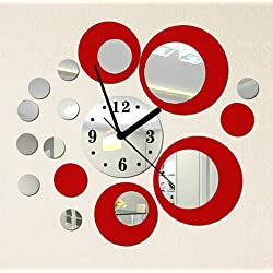 Asunflower® DIY 3D Modern Fashion Home Rounds Wall Clock Mirror Wall Clock Decoration (Silver Red)