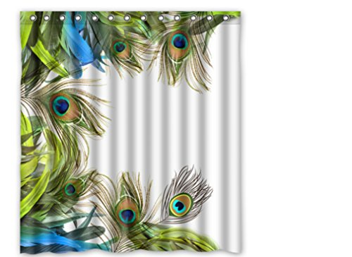 """Custom Polyester Shower Curtain 66"""" x 72"""" The peacock colourful feathers birds design new"""
