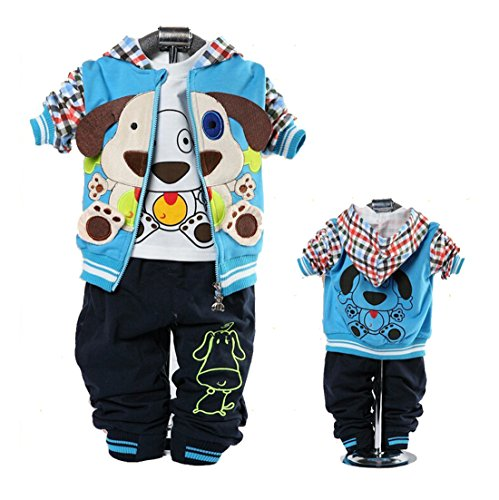 Cute Baby Boy Outfits Dog Strip Hoodie Jacket Tshirt Denim Pants Blue 12-24m