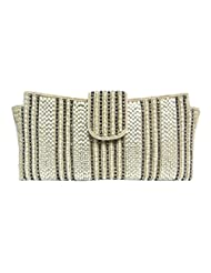 A STUNNING BEADED WHITE CLUTCH BAG WITH DIAMANTE