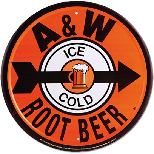 A and W Root Beer Soda Die Cut Metal Round Tin Sign fire dept no problem metal tin sign 16 x 12 5