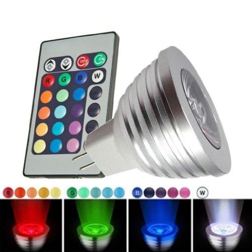 Sodial(R) Mr16 3W 16 Change Colors Rgb Led Spot Light Lamp Bulb Remote Control 12V New