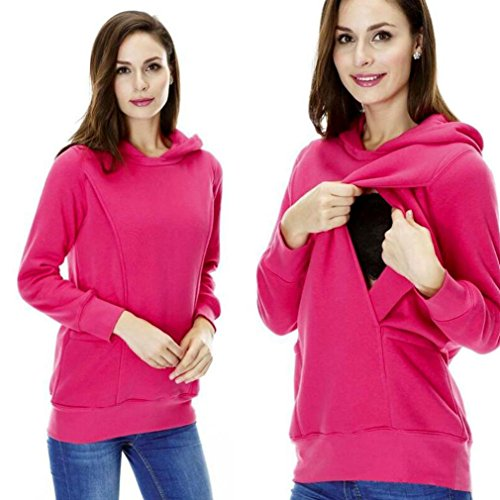 Lisingtool Maternity Nursing Clothes Warm Baby Breastfeeding Clothing Pregnancy Hoodie Top (M, Hot Pink)