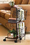 3 Tier Rolling Magazine End Table with Storage - Magazine Holder Organizer Rack - Coffee Table - Use Next to Couch or Many Other Uses