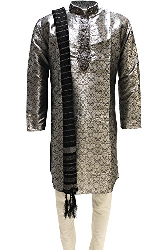Krishna Sarees mkp3168 grigio e nero uomo Kurta pigiama Indian Suit Bollywood Fancy Dress Grau Petto 54 Pollici