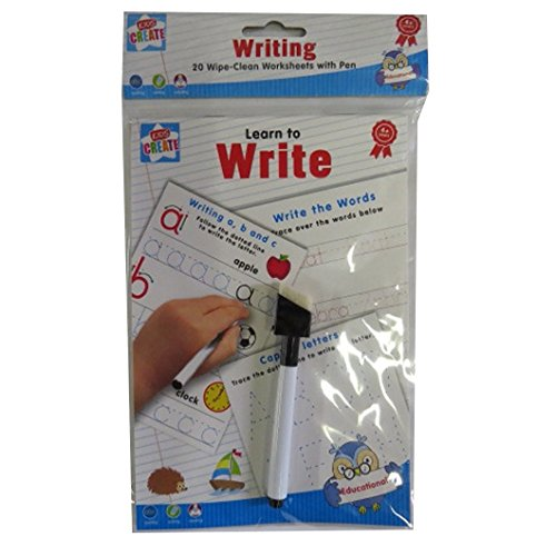 Learn-To-Write-Spelling-Writing-Reading-20-Wipe-Clean-Worksheets-with-Pen
