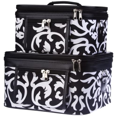 Train Case Cosmetic Toiletry 2 Piece Luggage Set Black & White Damask Floral Print