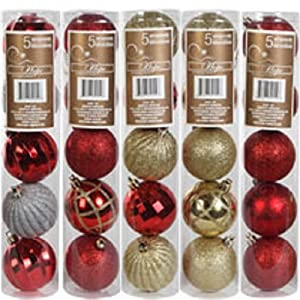 Christmas House Glitter-accented Round Ornament Balls, 5-ct. Pack (Colors and Designs May Vary)