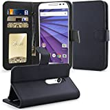 Moto G 3rd Gen Case,Moto G (2015) Case, Tauri Wallet Leather Case with Stand, ID & Credit Card Pocket Flip Cover For Moto G 3rd Generation 2015 - Black