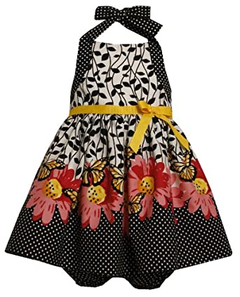 Size-6/9M BNJ-2958M 2-Piece BLACK WHITE 'Monarch Butterfly' and FLORAL BORDER PRINT HALTER Spring Summer Party Dress,M02958 Bonnie Jean Baby/NEWBORN
