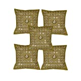 Rajrang Green Cotton Embroidered With Mirror Work Cushion Cover Set Of 5 Pcs #Ccs02533
